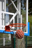 Basketball goal. The ball is into the net. Sucess stock photo