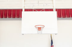 Basketball Goal. A basketball hoop and goal at the gymnasium stock images
