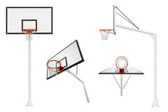 Basketball goal isolated from different views Royalty Free Stock Images