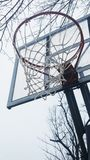 Basketball Goal Net. Under The Basketball Goal royalty free stock image