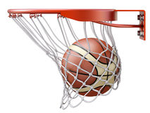 Basketball going into the basket hoop. 3D illustration Royalty Free Stock Photos