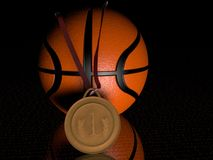 Basketball and gold medal Royalty Free Stock Photos