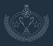 Basketball Golden Goblet and Crown Lineart Royalty Free Stock Photo