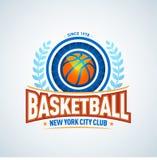 Basketball golden logo template, basketball logotype, badge logo design template, sport logotype template. Basketball Themed T shirt template. Vector Stock Photo