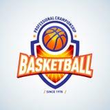 Basketball golden logo template, basketball logotype, badge logo design template, sport logotype template. Royalty Free Stock Images