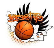 Basketball graffiti image. With the ball and wings Stock Photos