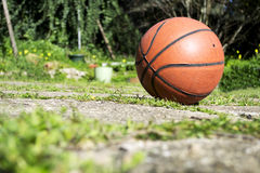 Basketball on the ground Royalty Free Stock Image