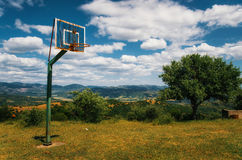 Basketball ground at the monastery of Meteora Royalty Free Stock Images