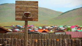Basketball ground next to yurt, Mongolia Stock Photos