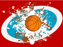 Basketball on grunge. Basketball on grungy background with abstract background Royalty Free Stock Photo