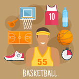 Basketball guard flat icon for ball sports design Stock Photos