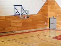 Basketball gymnasium in the school. Basketball gymnasium equipped for training in the school royalty free stock photography