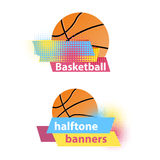 Basketball halftone vector banners Stock Images
