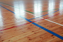 Basketball hall indoor court wood floor Stock Photography