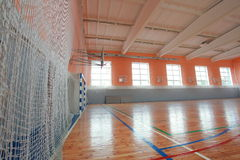 Basketball hall indoor court wood floor. Basketball hall indoor parquet field Stock Photo