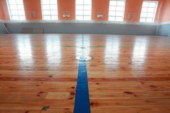 Basketball hall indoor court wood floor Royalty Free Stock Photography