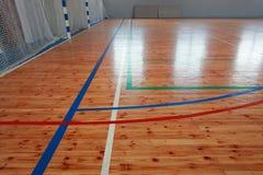 Basketball hall indoor court wood floor Stock Images