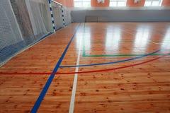 Basketball hall indoor court wood floor Stock Image