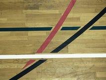 Basketball hall indoor wood parquet field room. Empty hall Royalty Free Stock Photo