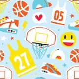 Basketball hand drawn cartoon objects seamless vector pattern blue. Basketball hand drawn cartoon kawaii objects seamless vector pattern blue vector illustration