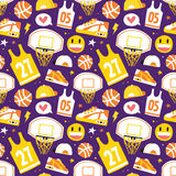 Basketball hand drawn cartoon objects seamless vector pattern purple. Basketball hand drawn cartoon kawaii objects seamless vector pattern purple vector illustration