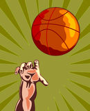 Basketball and hand rebounding Stock Photos