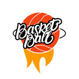 Basketball hand written lettering with fire logo, emblem, label, badge. Royalty Free Stock Image