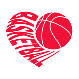 Basketball in heart 1. Ball and inscription basketball in the form of heart. Vector illustration isolated on white background for sports design Stock Images