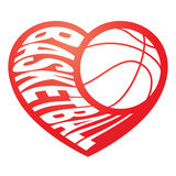 Basketball in heart 3 Stock Images