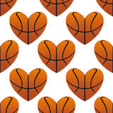 Basketball hearts in a seamless Royalty Free Stock Photo