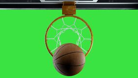 Basketball hit the basket in slow motion on a green background