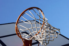 Basketball hoop. A basketball hoop with net against blue sky Stock Images
