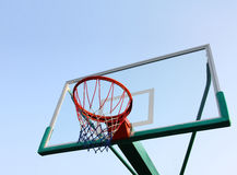 Basketball hoop. Outdoor basketball hoop on a sunny day Royalty Free Stock Photos