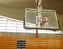 Basketball hoop. Indoor basketball court with smudge marks on the board Stock Photos