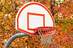 Basketball hoop. With with autumn trees in background royalty free stock photo