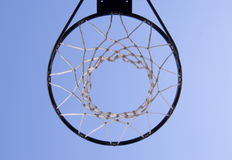 Basketball hoop. A different perspective of a basketball hoop stock images
