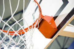 Basketball hoop. A basketball hoop in an International sport venue. Possible venue for the 2016 Olympic Games. Shallow DOF royalty free stock photo