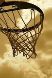 Basketball Hoop. Front lit Basketball hoop in sepia for affect Royalty Free Stock Image