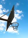 Basketball hoop against a cloudy sky. A basketball hoop against a cloudy sky Stock Photos