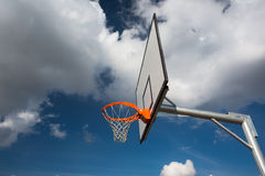 Basketball hoop against  lovely blue summer sky Stock Photography