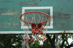 Basketball hoop against the warm summer Stock Images