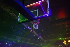 Basketball Hoop And Sports Arena In Laser Lights Royalty Free Stock Images