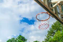 Basketball hoop in arena sport area on blue sky Royalty Free Stock Image