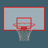 Basketball hoop on backboard isolated on white background. Basketball hoop on backboard isolated. Net with round circle, equipment of sport gym. Sportive basket Royalty Free Stock Images