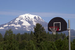 Basketball Hoop Backboard Mountain Background Mt Adams Cascade R Royalty Free Stock Photo