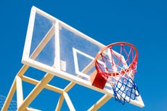 Basketball hoop on the background of sky blue. Royalty Free Stock Photos