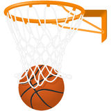 Basketball hoop and ball royalty free illustration
