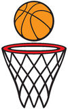 Basketball hoop and ball Stock Images
