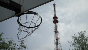 Basketball hoop and ball stock video