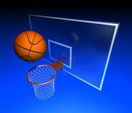 Basketball hoop and basketball ball Stock Images